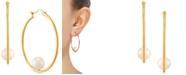 Macy's Cultured Freshwater Pearl (7mm) Hoop Earrings in 14k Gold-Plated Sterling Silver