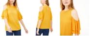 Michael Kors Flounce-Sleeve Cold-Shoulder Top