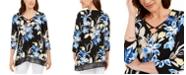 JM Collection Printed Chiffon-Hem Tunic, Created For Macy's