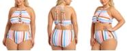 California Waves Trendy Plus Size Striped Halter Bikini Top & Strappy High-Waist Bikini Bottoms, Created for Macy's