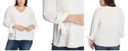 CeCe Plus Size 3/4 Tie Sleeve Blouse