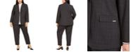 Calvin Klein Plus Size Windowpane Jacket, Colorblocked-Trim Blouse & Windowpane Dress Pants