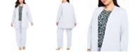 Calvin Klein Plus Size Open-Front Jacket, Floral-Print Pleat-Neck Top & Modern-Fit Pants