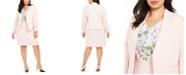 Calvin Klein Plus Size Textured Asymmetrical Blazer, Flutter-Sleeve V-Neck Top & Textured Pencil Skirt