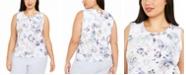 Calvin Klein Plus Size Hardware-Trim Pleat-Neck Top