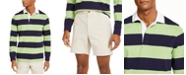 Club Room Men's Two-Tone Striped Long Sleeve Rugby Shirt, Created for Macy's