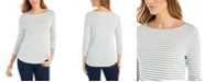 Charter Club Petite Cotton Striped Top, Created For Macy's