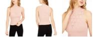Bar III Pointelle Mock-Neck Sleeveless Sweater, Created for Macy's