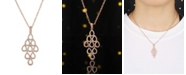 A&M Rose Tone Layered Chandelier Pendant Necklace