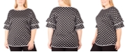 NY Collection Plus Size Ruffle-Sleeve Dot-Print Top