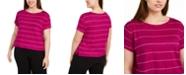 Eileen Fisher Plus Size Striped Linen Top