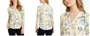 Charter Club Petite Floral-Print V-Neck Top, Created For Macy's