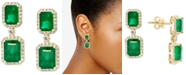 EFFY Collection EFFY® Emerald (4-3/4 ct. t.w.) & Diamond (3/8 ct. t.w.) Halo Drop  Earrings in 14k Gold