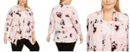 Kasper Plus Size Printed Open-Front Sweater