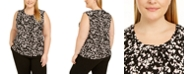 Kasper Plus Size Printed Twist-Neck Sleeveless Top