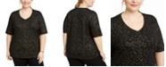 Karen Scott Plus Size Rose V-Neck Top, Created for Macy's