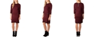 NY Collection Faux-Leather-Trim Sweater Dress