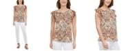 Calvin Klein Printed Ruffle-Sleeve Top
