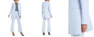 Calvin Klein Open-Front Topper, Floral-Print Pleat-Neck Top & Modern-Fit Pants