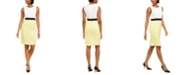 Kasper Petite Sleeveless Crepe Colorblocked Dress