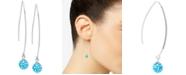 Giani Bernini Light Blue Crystal Cluster Threader Earrings in Sterling Silver
