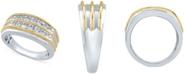 Macy's Men's Diamond Double Row Ring (1/2 ct. t.w.) in 10K White Gold & Yellow gold