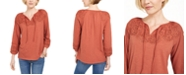 Style & Co Cotton Eyelet Peasant Top, Created for Macy's