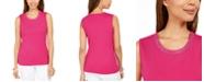 Karen Scott Cotton Embellished-Neck Top, Created For Macy's