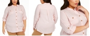 Charter Club Plus Size Button-Front Roll-Tab-Sleeve Top, Created For Macy's