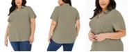 Karen Scott Plus Size Point-Collar Cotton Top, Created for Macy's