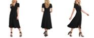 DKNY Ruched Button-Through Midi Dress