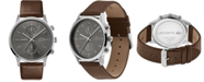 Lacoste Men's Chronograph Madrid Brown Leather Strap Watch 43mm