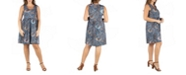24seven Comfort Apparel Women's Plus Size Paisley Fit and Flare Dress