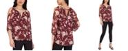 BCX Juniors' Floral-Print Cold-Shoulder Top