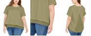 Michael Kors Plus Size Chiffon-Trim T-Shirt