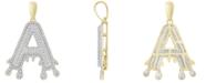 Macy's Men's Diamond (1/3 ct.t.w.) Dripping Initial Pendant in 10K Yellow Gold