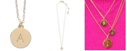 "kate spade new york Gold-Tone Initial Disc Pendant Necklace , 17"" + 3"" extender"