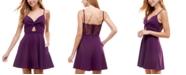 City Studios Juniors' Cutout Lace-Back Fit & Flare Dress