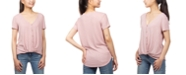 Hippie Rose Juniors' Button-Detail Twist-Front Top