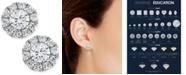 Macy's Diamond Halo Stud Earrings 14k White Gold (3/4 ct. t.w.)