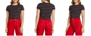 Dickies Juniors' Embroidered Striped Baby Tee