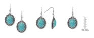 Macy's Simulated Turquoise in Silver Plated Oval Greek Key Design Wire Earrings