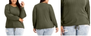FULL CIRCLE TRENDS Trendy Plus Size Drawcord Puff-Sleeve Top