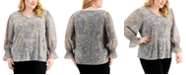 Calvin Klein Plus Size Printed Flare-Sleeve Top