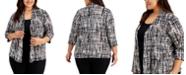 Kasper Plus Size Printed 3/4-Sleeve Cardigan