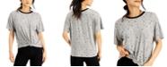 Self Esteem Juniors' Celestial Printed Knot-Front Ringer T-Shirt