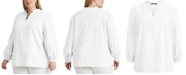Lauren Ralph Lauren Plus-Size Cotton V-Neck Top