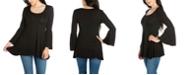 24seven Comfort Apparel Women's Long Bell Sleeve Flared Tunic Top