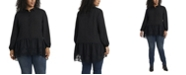Vince Camuto Women's Plus Size Long Sleeve Peplum Tunic with Lace
