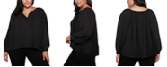 Belldini Black Label Plus Size Button Front Pleated Blouson Sleeves Top